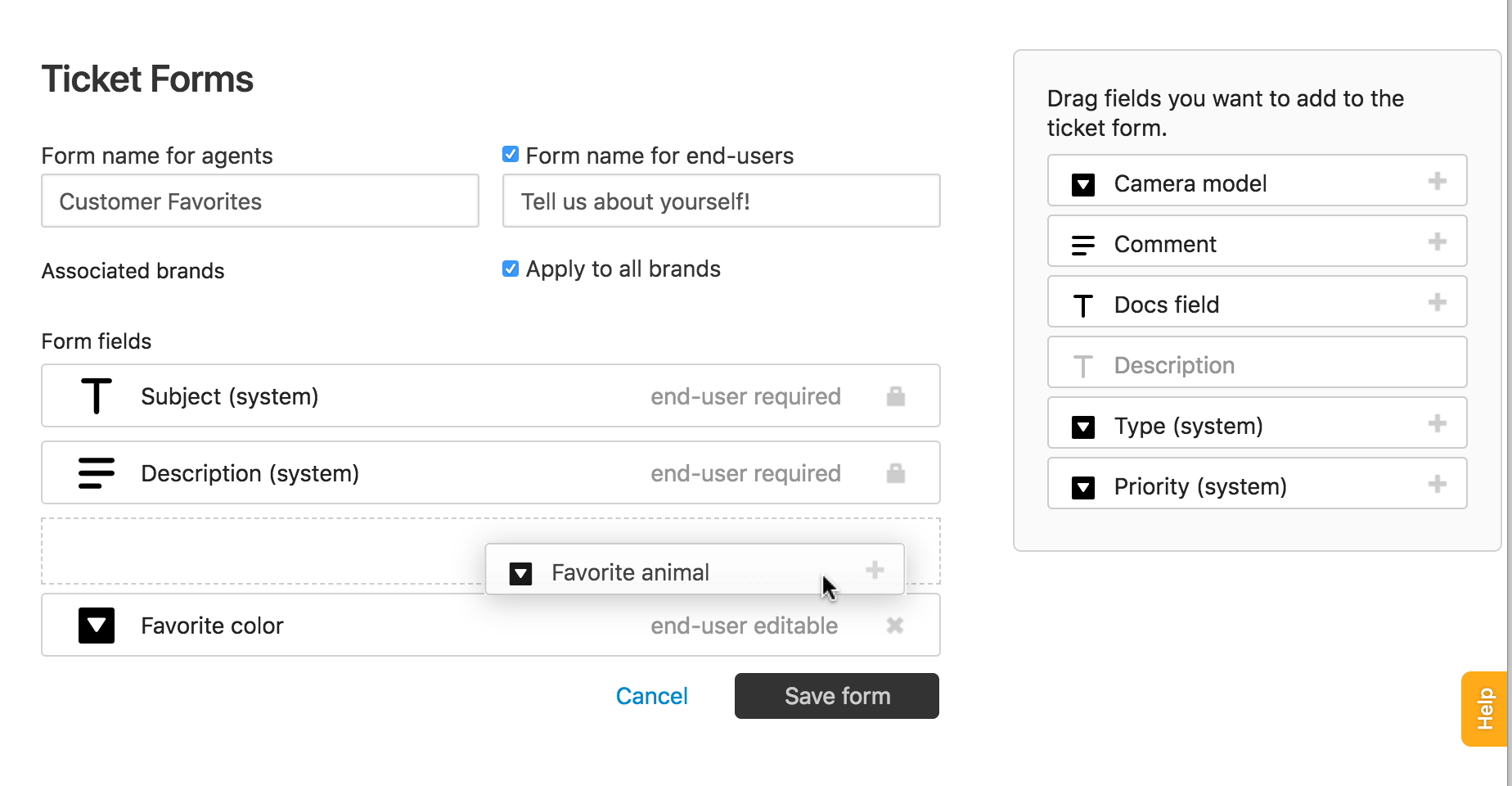 Creating ticket forms to support multiple request types