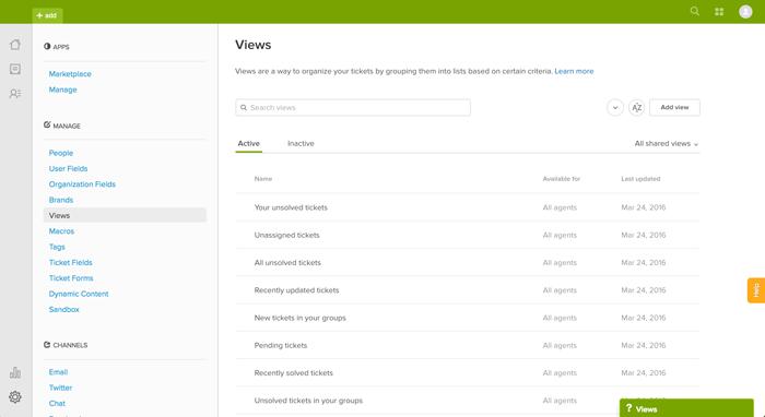 Using views to manage ticket workflow – Zendesk help