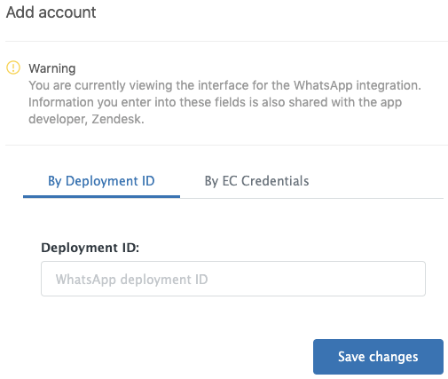 Installing and configuring the WhatsApp in Zendesk Support