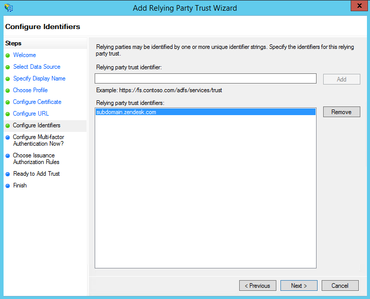 Setting up single sign-on using Active Directory with ADFS