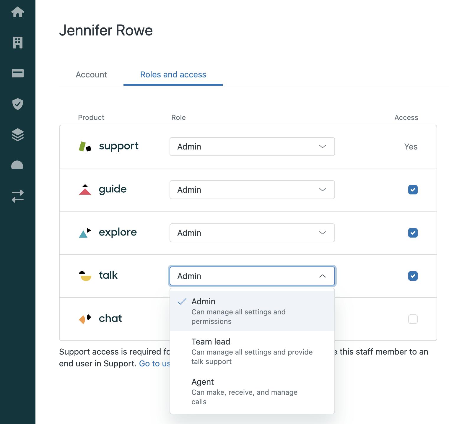 Product access settings