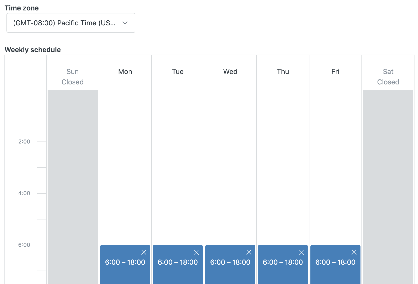 Set business schedule