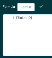 Fórmula de muestra de ID del ticket