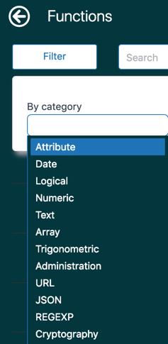 Categorías de funciones de Explore
