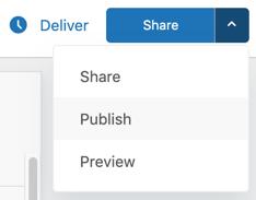 Opciones de envío de paneles y de publicación