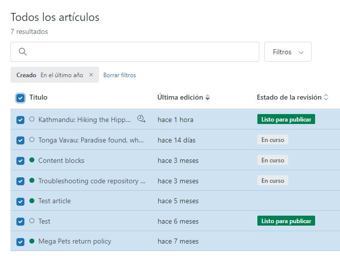 Actualización masiva de artículos, seleccionar todo.