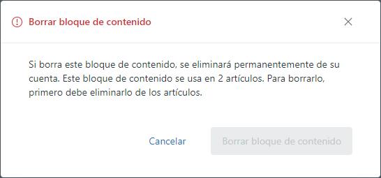 Confirmación de borrado de bloque de contenido en Guide