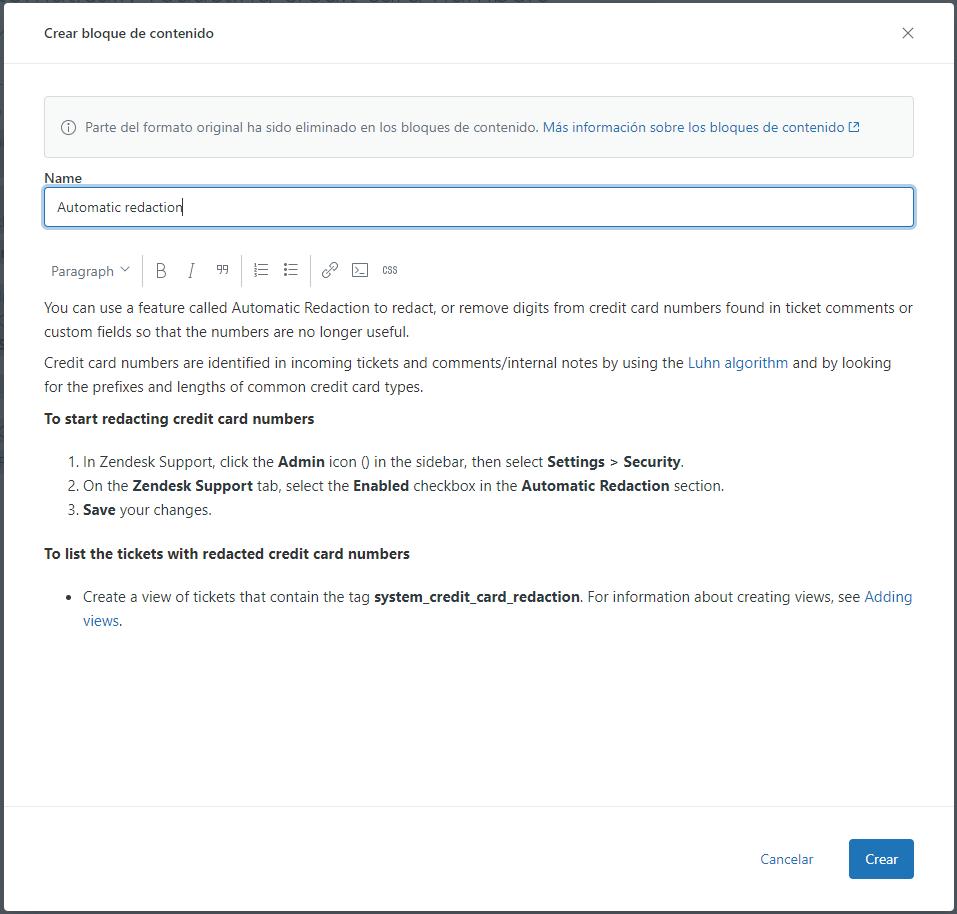 Crear bloque de contenido en Guide