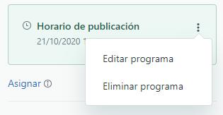Menú de publicación o cancelación de publicación programada