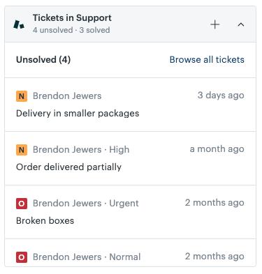 Widget de integración de Sell y Support