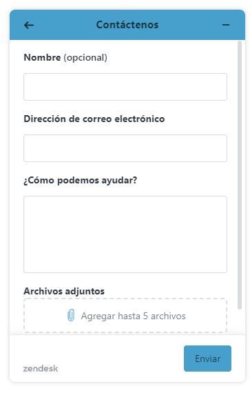 web widget de envío de solicitud de soporte