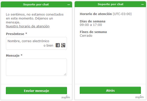 Notificación de horario comercial en Chat