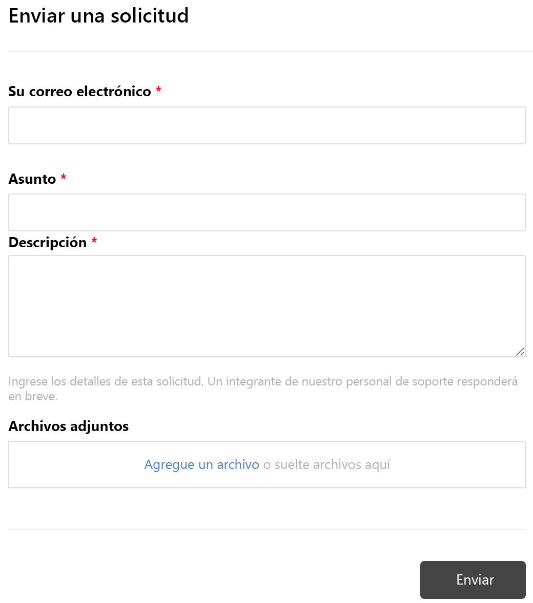 enviar formulario de solicitud