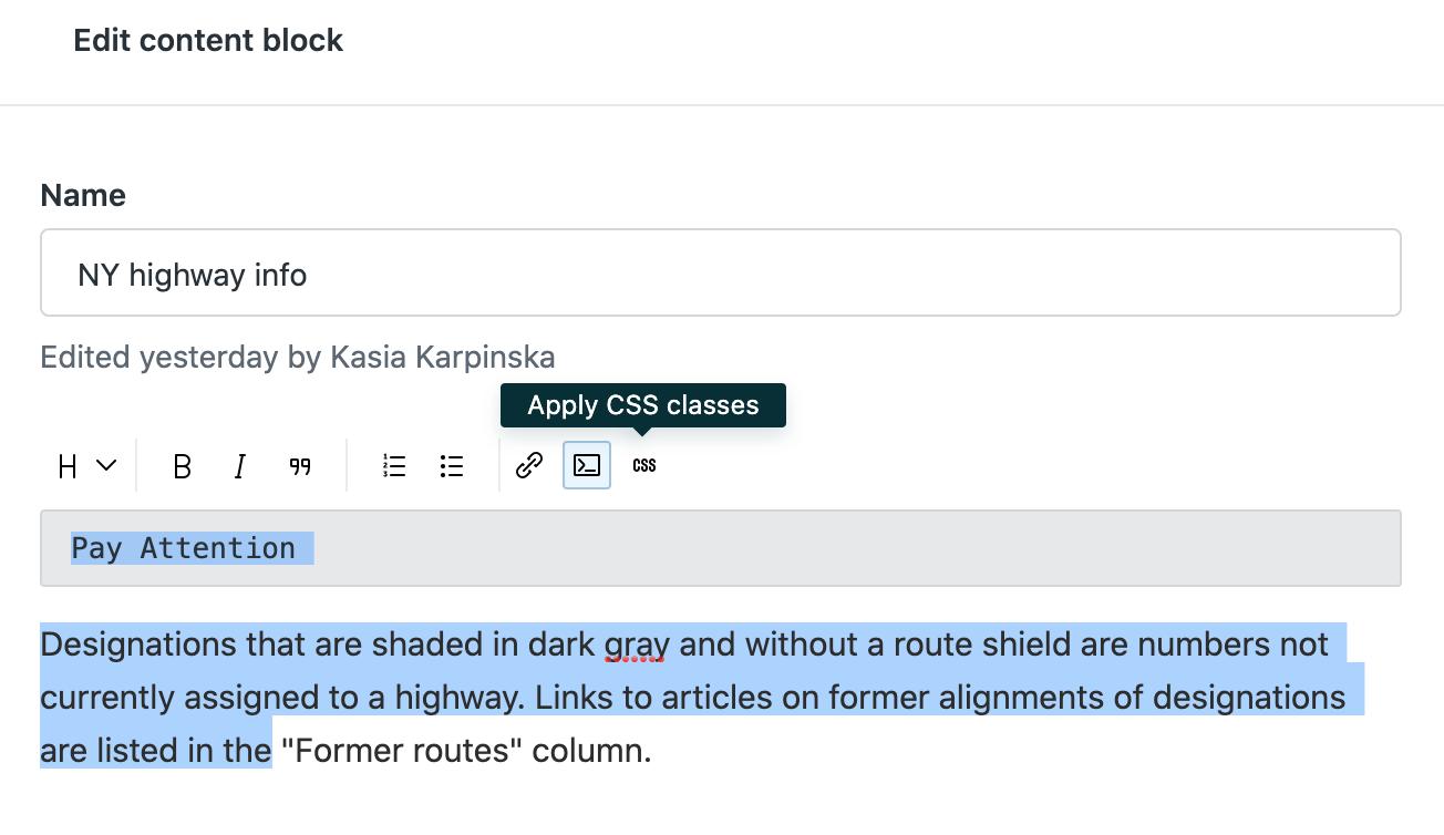Modification d'un bloc de contenu dans Guide