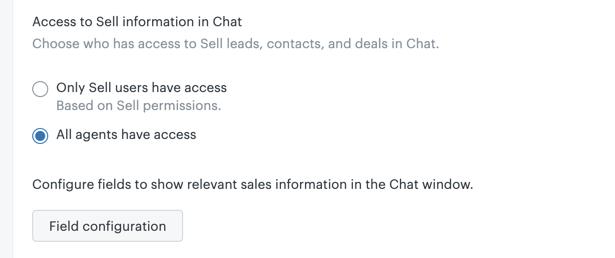 Accès aux informations Sell dans Chat
