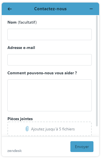 Web Widget Envoyer une demande d'assistance
