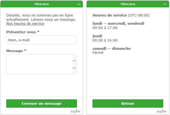 Notification des horaires d'ouverture dans Chat