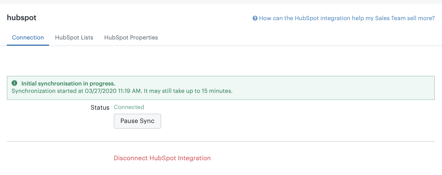 Sell-HubSpotの同期を開始