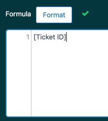 Exemplo de fórmula de ID do ticket