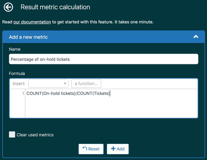 Página Cálculo de métricas do resultado
