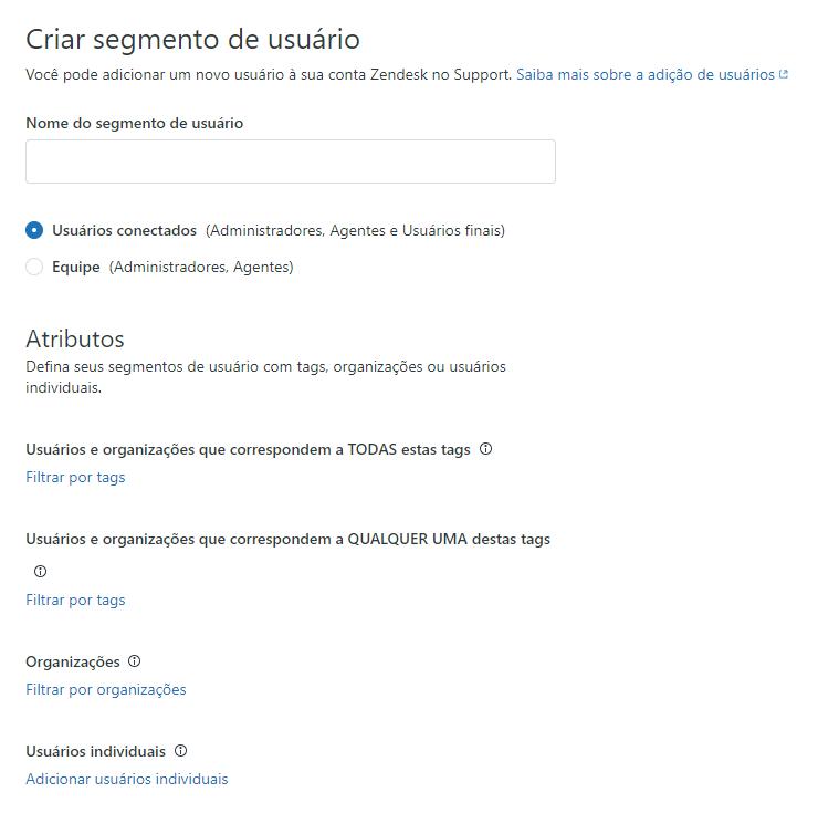 Criação de segmento de usuário no Guide