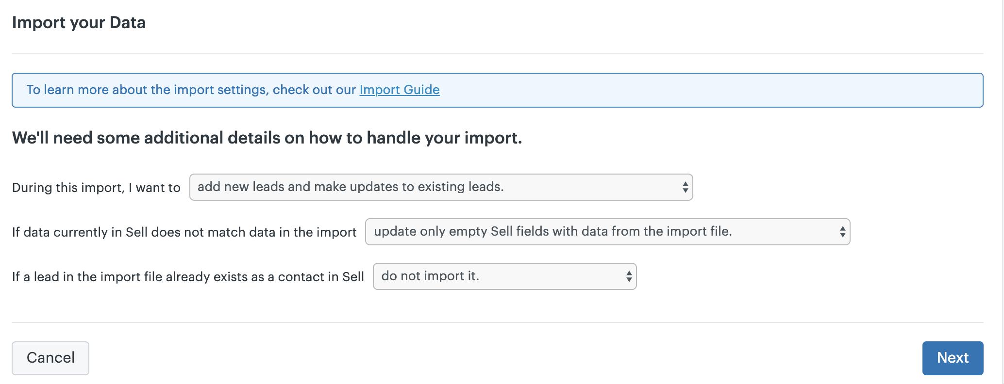 Dados de importação do Sell