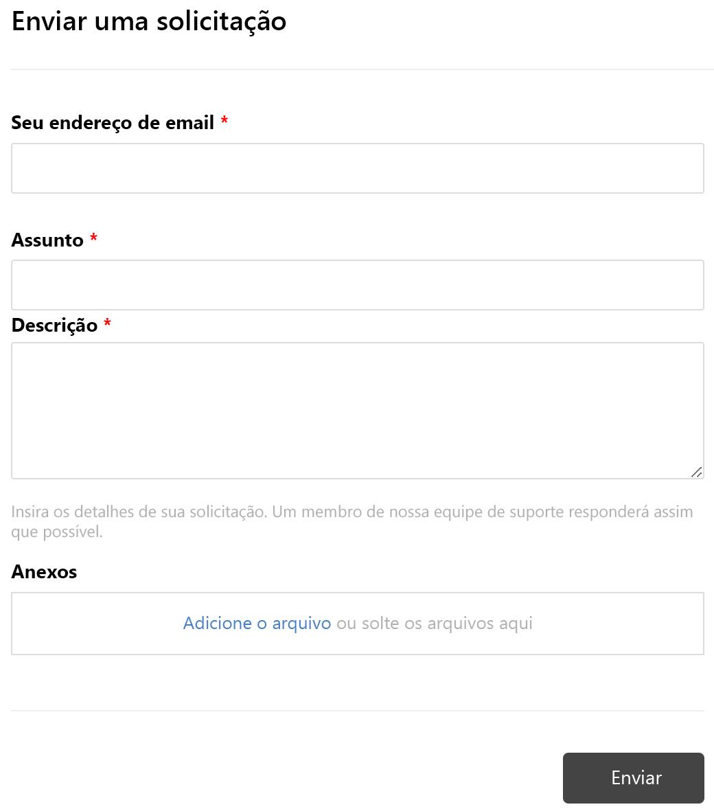 Formulário Enviar solicitação